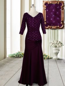 Affordable Dark Purple Elastic Woven Satin Zipper Sweet 16 Quinceanera Dress Half Sleeves Floor Length Beading and Lace and Hand Made Flower
