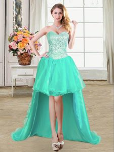 Pretty Sleeveless Lace Up High Low Beading and Ruffles and Pick Ups Quinceanera Dresses