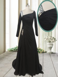 Glittering With Train A-line Long Sleeves Black Quinceanera Dress Sweep Train Side Zipper
