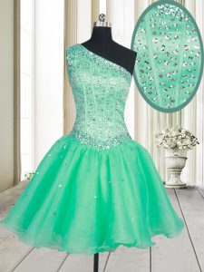One Shoulder Turquoise Sleeveless Mini Length Beading Lace Up Quinceanera Gown