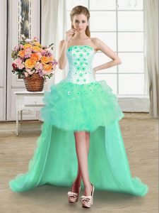 New Style Turquoise Sleeveless High Low Beading and Appliques and Ruffles Lace Up Quinceanera Dress