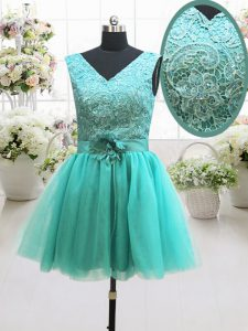 Mini Length Turquoise 15 Quinceanera Dress V-neck Sleeveless Lace Up