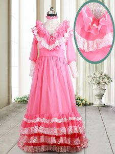 Cute Ruffled Pink Quinceanera Gown V-neck Long Sleeves Brush Train Zipper