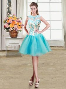 Scoop See Through Organza Sleeveless Mini Length Sweet 16 Quinceanera Dress and Beading