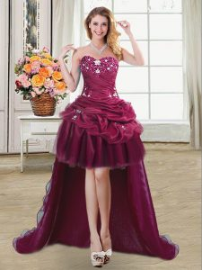 Affordable Pick Ups Ball Gowns Quince Ball Gowns Burgundy Sweetheart Organza Sleeveless High Low Lace Up