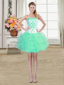 Captivating Turquoise Sleeveless Organza Lace Up Sweet 16 Quinceanera Dress for Prom and Party