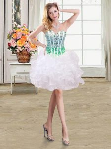 Pretty White Sweetheart Neckline Beading and Ruffles Quinceanera Dress Sleeveless Lace Up