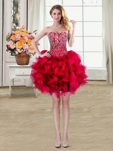 Beading and Ruffles Sweet 16 Dresses Red Lace Up Sleeveless Mini Length