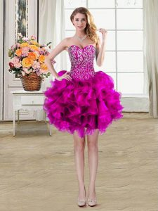 Flare Mini Length Fuchsia Quinceanera Gown Organza Sleeveless Beading and Ruffles