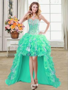 Turquoise Organza Lace Up Quinceanera Gowns Sleeveless High Low Ruffles and Sequins