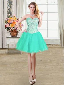 Comfortable Turquoise Ball Gowns Organza Sweetheart Sleeveless Beading and Ruffles and Pick Ups Mini Length Lace Up Sweet 16 Dresses
