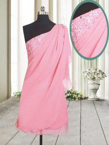 Latest Rose Pink A-line One Shoulder Sleeveless Chiffon Side Zipper Beading Quinceanera Dress