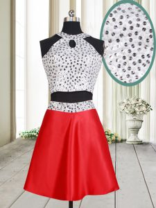 Halter Top White And Red Satin Criss Cross Sweet 16 Quinceanera Dress Sleeveless Mini Length Beading