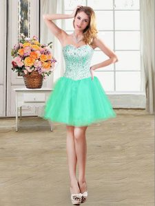 Fantastic Ball Gowns Ball Gown Prom Dress Turquoise Sweetheart Organza Sleeveless Mini Length Lace Up