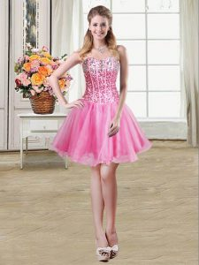 New Style Sequins Mini Length Rose Pink Quinceanera Gowns Sweetheart Sleeveless Lace Up
