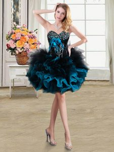 Chic Blue And Black Lace Up Sweetheart Beading and Ruffles and Hand Made Flower Quince Ball Gowns Organza and Tulle Sleeveless
