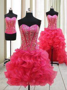 Sweetheart Sleeveless Quince Ball Gowns High Low Beading Hot Pink Organza
