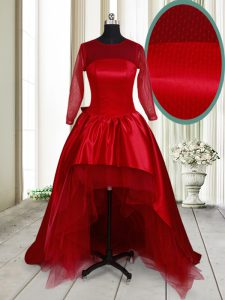 Scoop Wine Red Long Sleeves Taffeta and Tulle Clasp Handle 15 Quinceanera Dress for Prom
