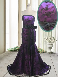 Low Price Mermaid Sleeveless Sweep Train Bowknot and Belt Lace Up Quinceanera Dresses