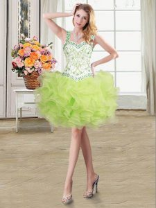 Dazzling Yellow Green Sweet 16 Quinceanera Dress Military Ball and Sweet 16 and Quinceanera with Beading and Ruffles Straps Sleeveless Lace Up