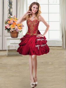 Luxury Beading and Appliques and Pick Ups Ball Gown Prom Dress Wine Red Lace Up Sleeveless Mini Length