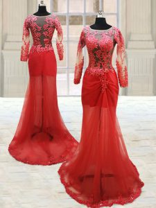Dynamic Scoop Long Sleeves Tulle With Train Side Zipper Quince Ball Gowns in Red with Appliques