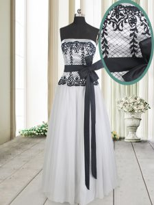 Custom Fit White And Black Tulle Zipper Sweet 16 Dresses Sleeveless Floor Length Lace and Bowknot