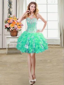 Sequins Turquoise Sleeveless Organza Lace Up Quinceanera Dress for Prom and Party