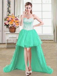 Excellent Turquoise Sleeveless High Low Beading Lace Up Quince Ball Gowns