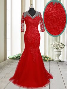 Shining Red Mermaid Tulle V-neck Half Sleeves Lace With Train Clasp Handle Party Dress Wholesale Brush Train