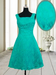 Turquoise Ball Gown Prom Dress Prom and Party with Lace Square Sleeveless Zipper