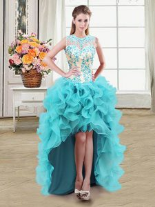 Hot Selling See Through Ball Gowns Sweet 16 Dresses Aqua Blue Scoop Organza Sleeveless High Low Zipper