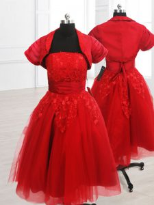 Most Popular Red Organza Lace Up Sweet 16 Quinceanera Dress Short Sleeves Knee Length Embroidery
