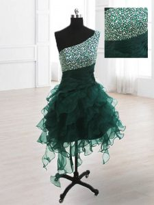 One Shoulder Organza Sleeveless Knee Length Sweet 16 Quinceanera Dress and Beading and Ruffles