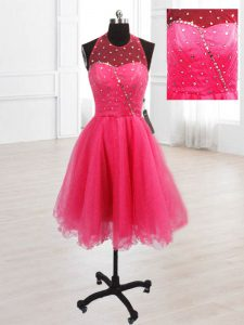 Beauteous Hot Pink High-neck Neckline Sequins Quinceanera Gowns Sleeveless Lace Up