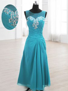 Hot Sale Scoop Sleeveless Chiffon Quinceanera Gowns Beading and Ruching Lace Up