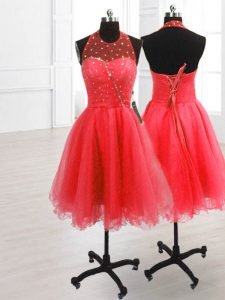 Sequins Knee Length Watermelon Red Quinceanera Gowns High-neck Sleeveless Lace Up