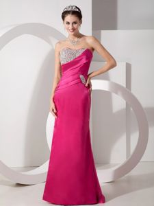 Strapless Mermaid Hot Pink Floor-Length Graduation Dress with Appliques