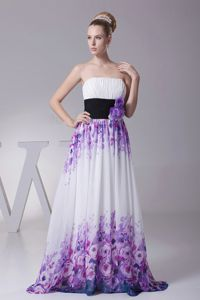 Printed Fabric Floor-Length Graduation Dress with Flower and Black Belt in Blantyre