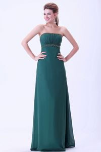 Hunter Green Floor-Length Ruched Graduation Dress with Beading in Connel