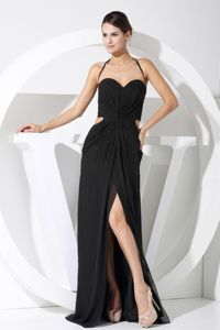 Spaghetti Straps Graduation Dress with Slit on the Side and Cutout Waist in Elderslie