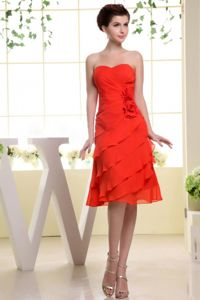 Sheath Red Knee-Length Strapless Graduation Dress with Hand-Made Flowers in Irvine
