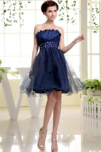 Navy Blue Strapless Short-Length Dress for Graduation with Beading in Kilwinning