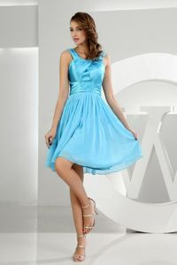 A-Line Scoop Ruched Knee-Length Blue Dress for Graduation in Lochgilphead