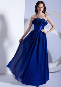 Royal Blue Floor-Length Graduation Dress for Grade 8 with Flowers in Strathaven