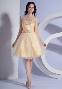 Knee-Length Strapless Dress for Graduation with Beading and Criss Cross in Tarbert
