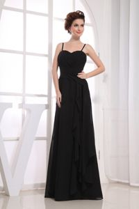 Black Floor-Length Column Spaghetti Straps Ruched Dress for Graduation in Taynuilt
