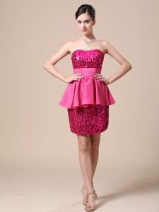 Strapless Mini-Length Sheath Beaded Graduation Dress with Special Skirt in Troon