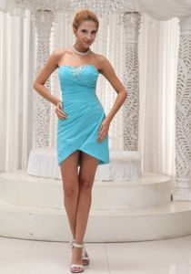 Asymmetrical Length Strapless Beaded Aqua Blue Dress for Graduation in Comrie