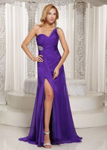 One-Shoulder Beaded Graduation Dress with Slit on One Side in Monifieth